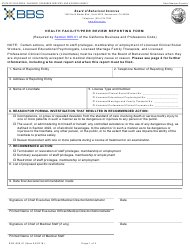 """Form ENF-805.01 """"Health Facility/Peer Review Reporting Form"""" - California"""