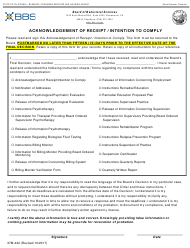 """Form 37M-422 """"Acknowledgement of Receipt/Intention to Comply"""" - California"""