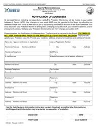 "Form 37M-441 ""Notification of Addresses"" - California"