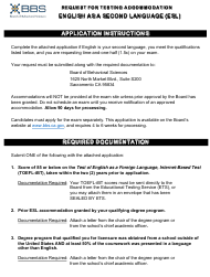"""Form 37A-612 """"Request for Testing Accommodation - English as a Second Language (Esl)"""" - California"""