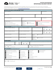 """Form HLTH1622 """"Assisted Living Registrar - Reportable Incident Report"""" - British Columbia, Canada"""
