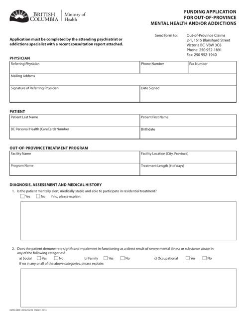 Form HLTH2809 Printable Pdf
