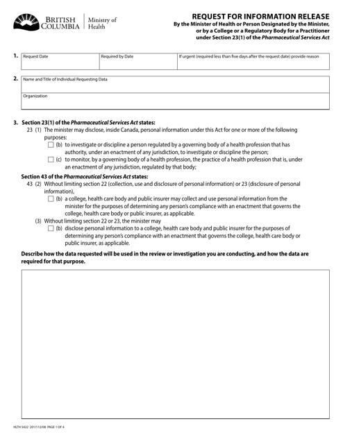 Form HLTH5422 Printable Pdf