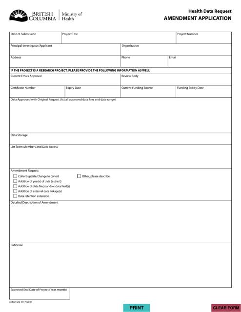 Form HLTH5509 Printable Pdf