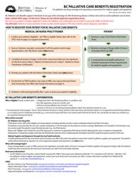 "Form HLTH349 ""Bc Palliative Care Benefits Registration"" - British Columbia, Canada"
