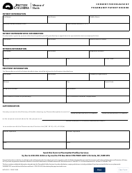 """Form HLTH5551 """"Consent for Release of Pharmanet Patient Record"""" - British Columbia, Canada"""