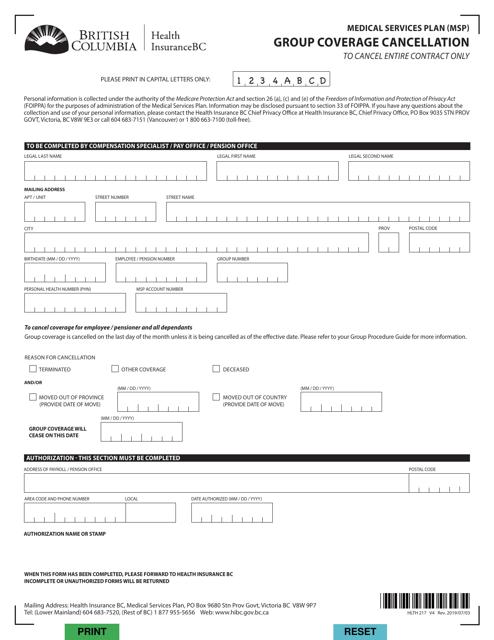 Form HLTH217 Printable Pdf