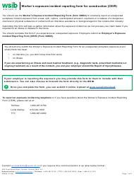 """Form 3885A """"Worker's Exposure Incident Reporting Form for Construction (Ceir)"""" - Ontario, Canada"""