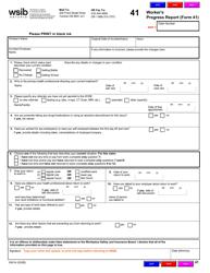 "Form 41 (0041A) ""Worker's Progress Report"" - Ontario, Canada"