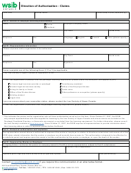 """Form 1824A """"Direction of Authorization - Claims"""" - Ontario, Canada"""