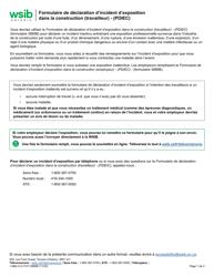"""Forme 3885B """"Formulaire De Declaration D'incident D'exposition Dans La Construction (Travailleur) - (Pdiec)"""" - Ontario, Canada (French)"""