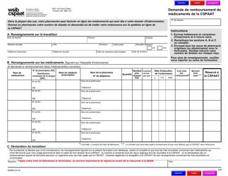 """Forme 0806B """"Demande De Remboursement De Medicaments De La Cspaat"""" - Ontario, Canada (French)"""