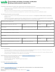 """Form 0056A """"Joint Health and Safety Committee Certification Training Reimbursement Request Form"""" - Ontario, Canada"""