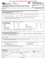 "Form 26 (0896A) ""Health Professional's Progress Report"" - Ontario, Canada"