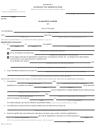 "Forme 7 ""Affidavit De Signification"" - Ontario, Canada (French)"