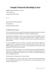 "Sample ""Financial Hardship Letter"""