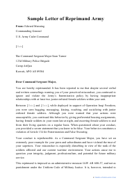 """Sample """"Letter of Reprimand Army"""""""
