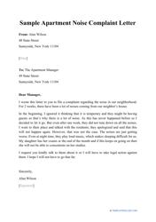 """Sample """"Apartment Noise Complaint Letter"""""""