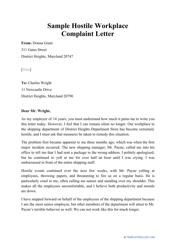 """Sample """"Hostile Workplace Complaint Letter"""""""