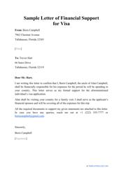 "Sample ""Letter of Financial Support for Visa"""