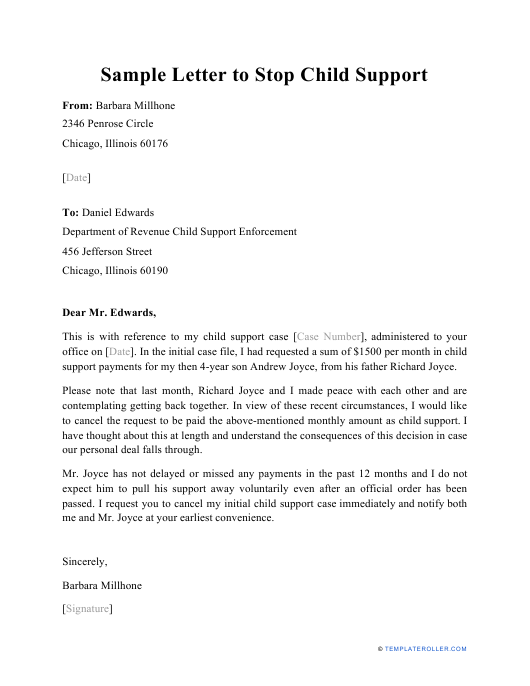 """Sample """"Letter to Stop Child Support"""" Download Pdf"""