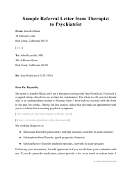 """Sample """"Referral Letter From Therapist to Psychiatrist"""""""