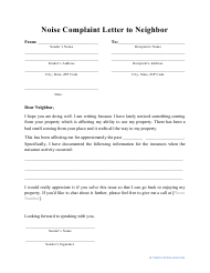 """""""Noise Complaint Letter to Neighbor Template"""""""