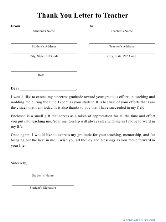 """""""Thank You Letter to Teacher Template"""" Download Pdf"""
