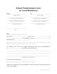 """""""School Fundraising Letter to Local Businesses Template"""""""