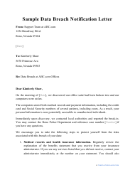 "Sample ""Data Breach Notification Letter"""