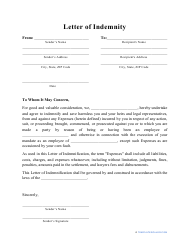 """""""Letter of Indemnity Template"""""""