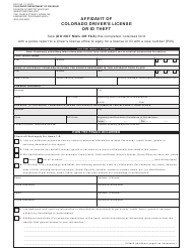 "Form DR2153 ""Affidavit of Colorado Driver's License or Id Theft"" - Colorado"
