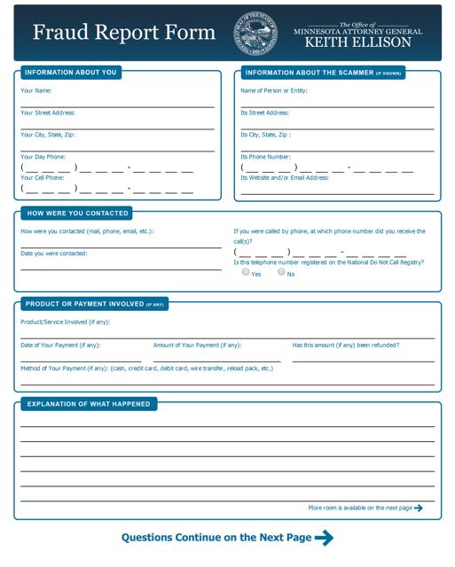 """Fraud Report Form"" - Minnesota Download Pdf"