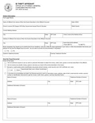 "Form SFN60633 ""Id Theft Affidavit"" - North Dakota"