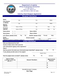 "Form OCP-200 ""Identity Theft Passport Application"" - Montana"