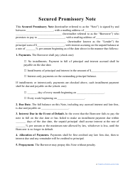 """Secured Promissory Note Template"""