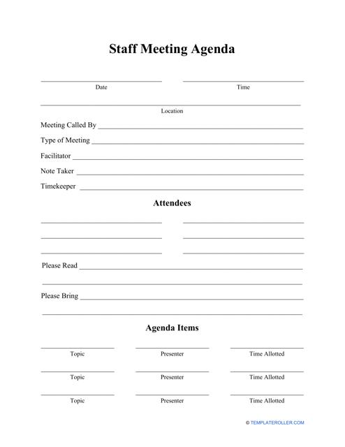"""Staff Meeting Agenda Template"" Download Pdf"