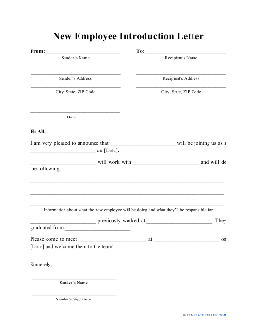 """""""New Employee Introduction Letter Template"""" Download Pdf"""