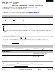"""Form CPT1 """"Request for a Cpp/Ei Ruling - Employee or Self-employed"""" - Canada"""