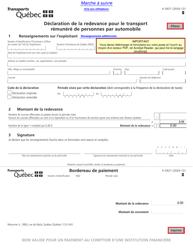 """Forme V-3027 """"Declaration De La Redevance Pour Le Transport Remunere De Personnes Par Automobile"""" - Quebec, Canada (French)"""