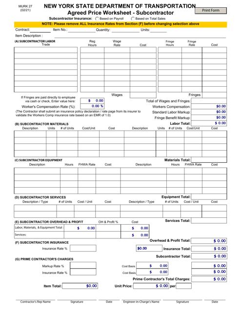 Form MURK27 Printable Pdf