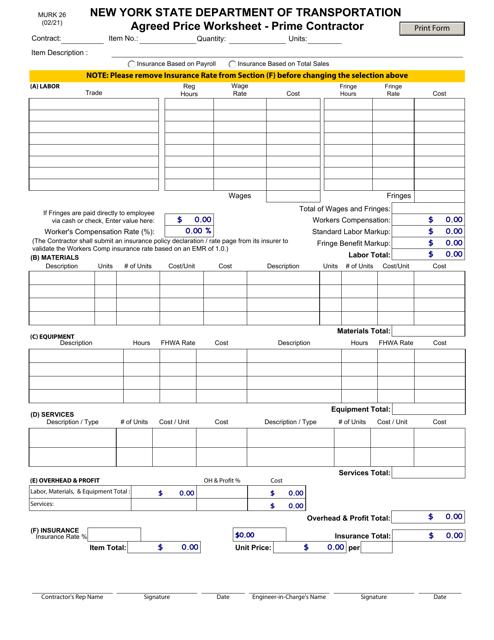 Form MURK26 Printable Pdf