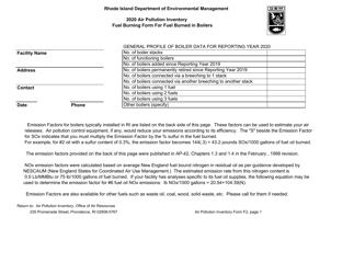 "API Form F2 ""Fuel Burning Form for Fuel Burned in Boilers"" - Rhode Island, 2020"
