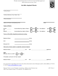 "API Form I ""Hot Mix Asphalt Plant"" - Rhode Island, 2020"