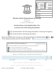 """""""Application for License as a Nursing Assistant by Examination"""" - Rhode Island"""
