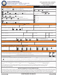 """Form LI-1 """"Application for License, Identification Card and Permit"""" - Rhode Island"""