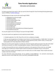 "Form MCD-302 ""Time Permits Application"" - Texas"