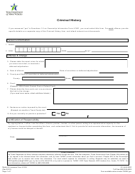 "Form LF606 ""Criminal History"" - Texas"