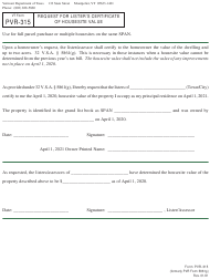 """VT Form PVR-315 """"Request for Lister's Certificate of Housesite Value"""" - Vermont"""