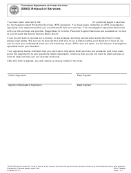 "Form HS-3489 ""Ssbg Refusal of Services"" - Tennessee"